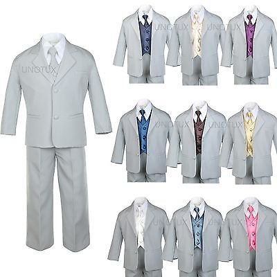 Prom Suit (BABY TODDLER BOY TEEN 7 PC WEDDING  PROM PARTY FORMAL TUXEDO SUIT GRAY)