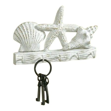 Tropical Starfish Seashells Metal Wall Key Hook Hanger