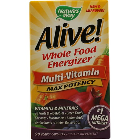 Natures Way Alive  Multi Vitamin Capsules  Vegetarian  90 Ct