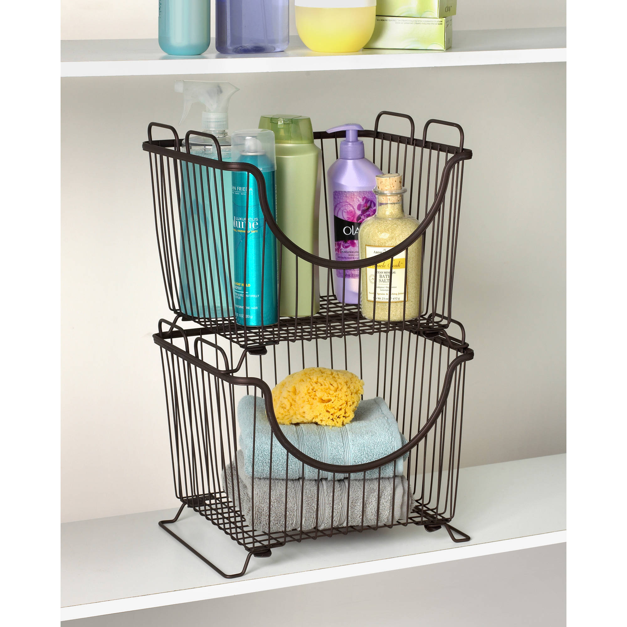Spectrum Diversified Designs Ashley Stacking Pantry Basket Large, Multiple Colors