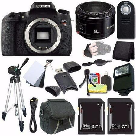 Canon EOS Rebel T6s DSLR Camera (Body Only) (0020C001) + EF 50mm Lens + 64GB SDXC Card + Case + Tripod + Card Wallet + Saver Bundle (Canon Camera Gray)