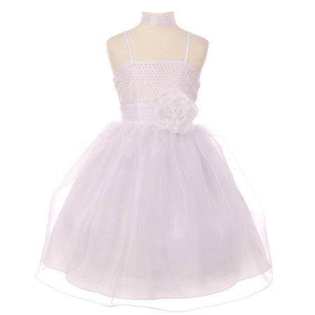 Girls White Stud Floral Accent Thin Strap Junior Bridesmaid Dress - Cinco De Mayo Dresses Sale