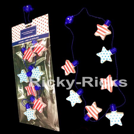 (5 Pack) Flashing Patriotic Necklaces Light Up 4th of July Glow Party Parade Favors Stars and Stripes Celebration