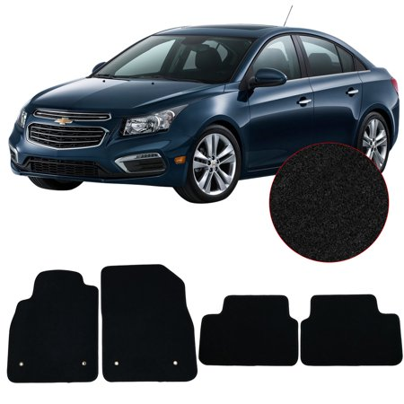 Fits 08-16 Chevrolet Cruz Floor Mats Front & Rear 4PC Black Nylon