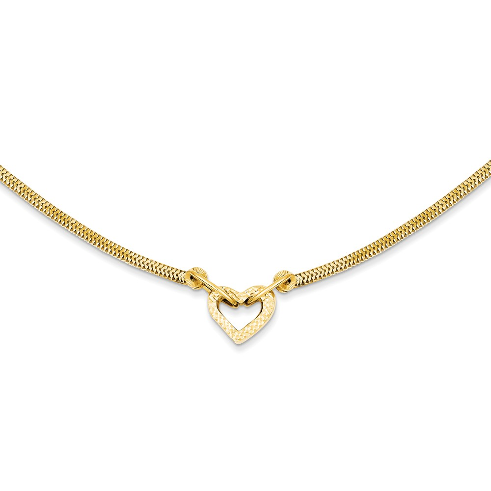 14K Gold 16in Fancy Franco D/C Puff Heart 2in Ext Necklace