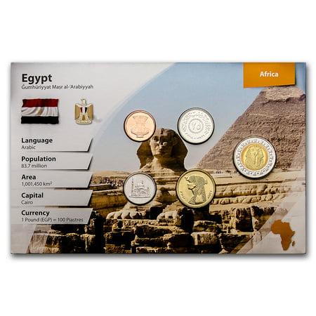 Glass Coin Set (1984-2010 Egypt 1 Piastre-1 Pound Coin Set BU (Landscape)