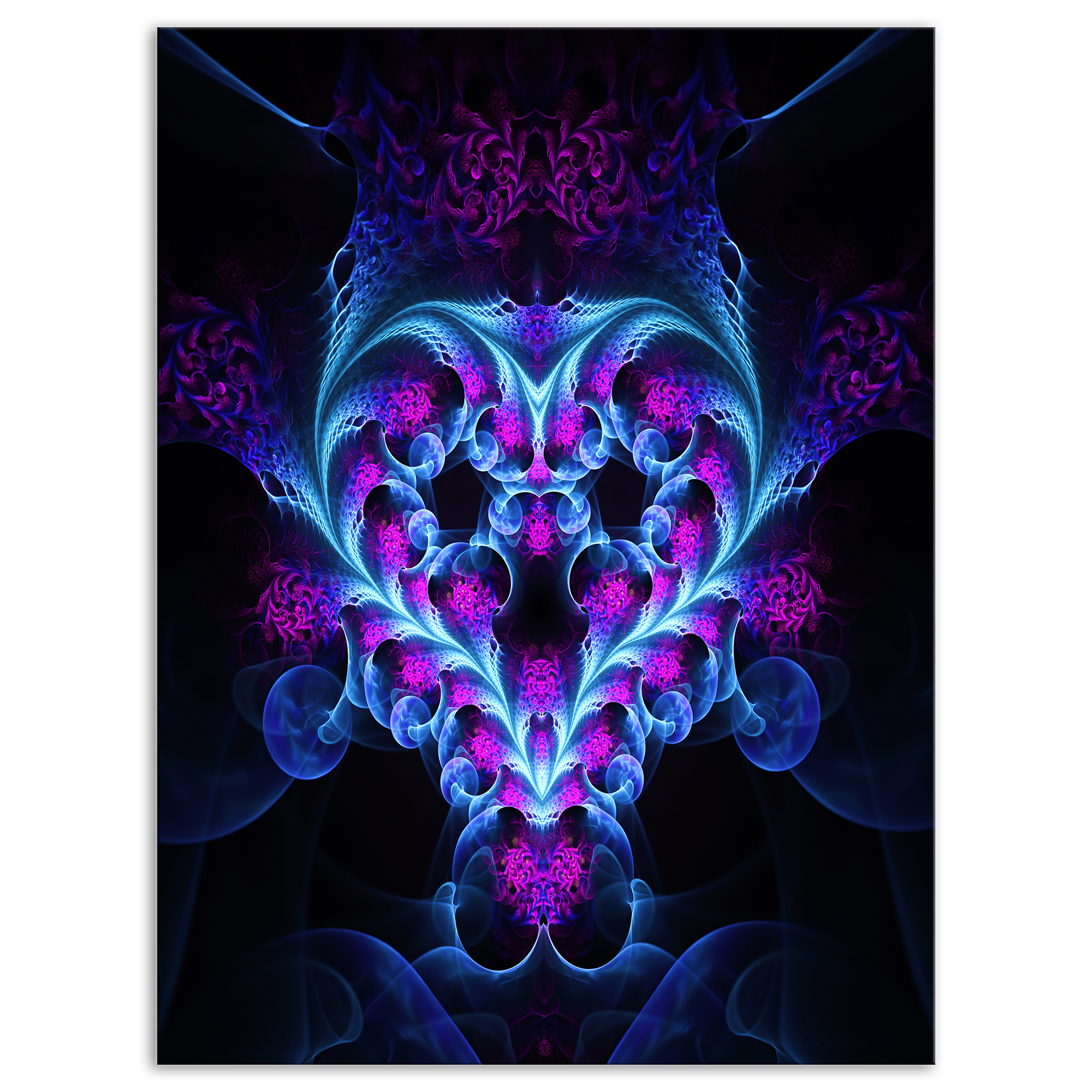 Bright Blue Large Fractal Flower Design - Abstract Art on Canvas - image 1 of 3