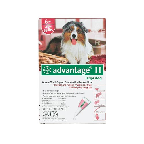 Advantage Flea Control for Dogs and Puppies 21-55 lbs 6 Month Supply by Advantage