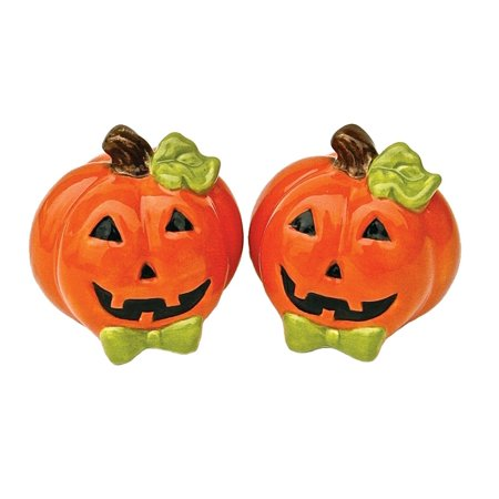 Halloween Smiling Orange Jack-O-Lanterns Ceramic Salt and Pepper Shaker Set