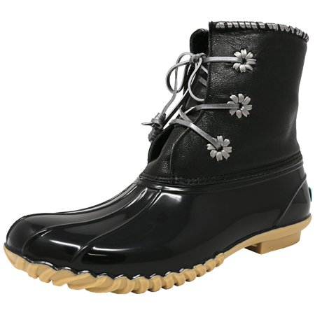 48bab16777c Jack Rogers Women's Chloe Metallic Black High-Top Rubber Rain Boot - 10M