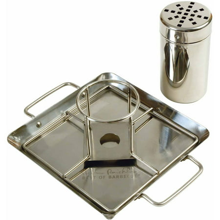 Steven Raichlen Best of Barbecue Beer Can Chicken Roaster Rack with Holder, Canister and Drip Pan, SR8016