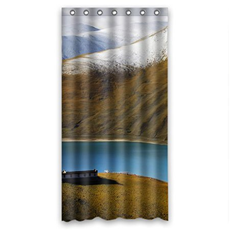 HelloDecor Natural Landscape Shower Curtain Polyester Fabric Bathroom Decorative Size 36x72 Inches