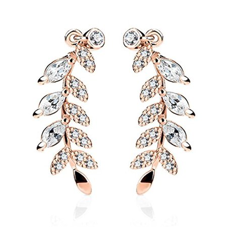 2871dafa073 BodyJ4You - BodyJ4You Pair of Marquise Cut Crystal Clear Paved Leaf Ear  Crawler Rose Goldtone Ear Climber - Walmart.com