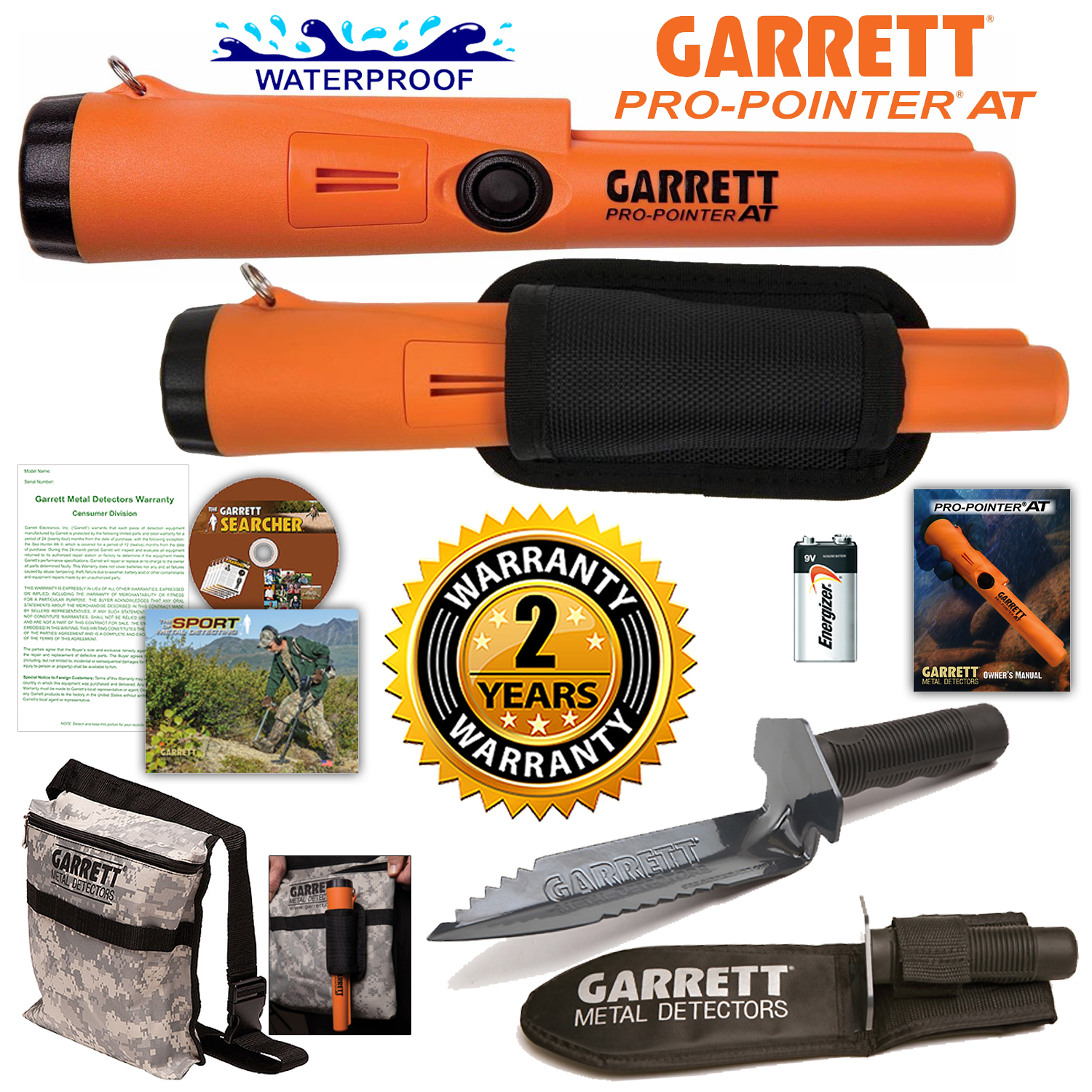 Garrett Pro Pointer AT Metal Detector Waterproof with Camo Pouch and Edge Digger