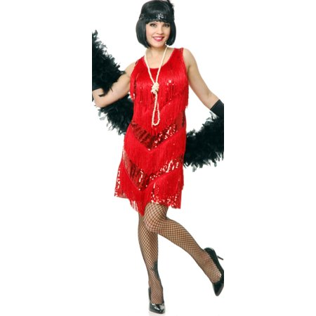 Womens Red Roaring 20s Four Tier Flapper Costume Dress - Red Flapper Dress Costume