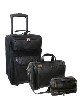 Amerileather  Cannon 3-piece Rolling Leather Luggage Set