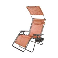"""PerfectPatio XXL 33"""" DELUXE Gravity Free Recliner w/ Canopy & Tray - Terracotta Flowers"""