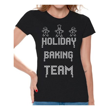 Awkward Styles Holiday Baking Team Shirt Thanksgiving Shirts for Women Christmas Gingerbread Tacky Party Holiday Shirt Christmas Cookies Women's Holiday Top Family Holiday Women's Christmas Tops - Womens Christmas Suits