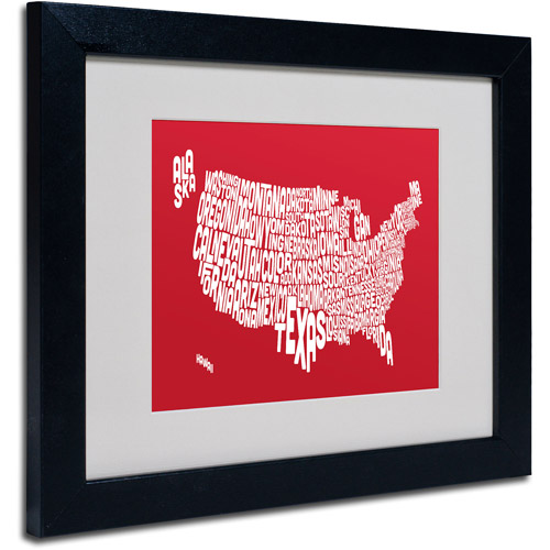 "Trademark Fine Art ""RED-USA States Text Map"" Matted Framed Art by Michael Tompsett"