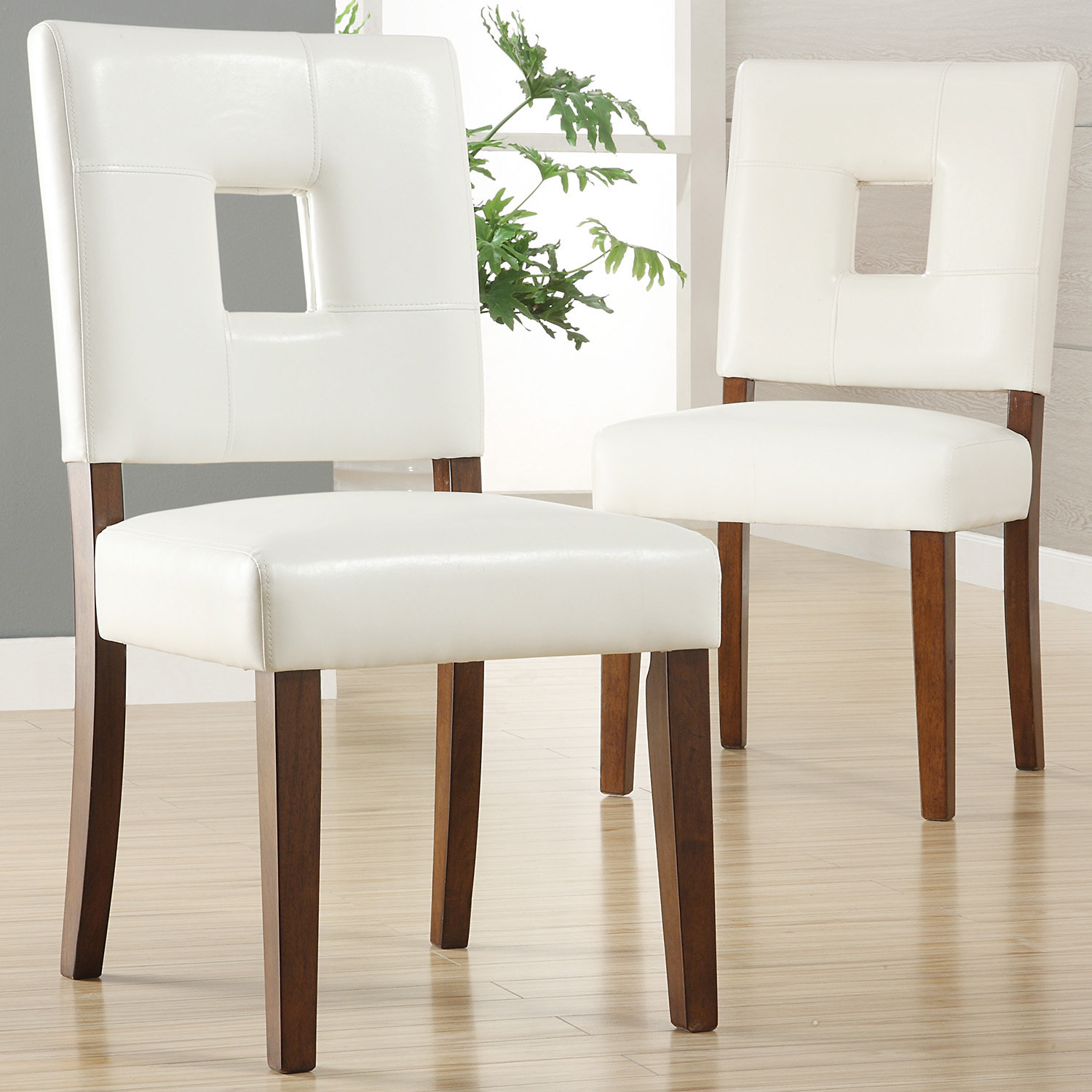 Tribecca Home Calvados Faux Leather White Side Chairs By