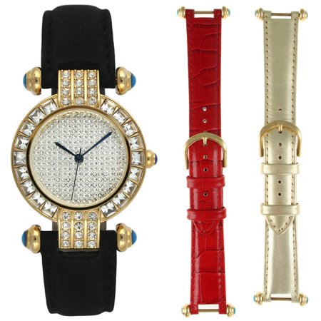 Steve Harvey  Womens Goldtone 3 Piece Watch