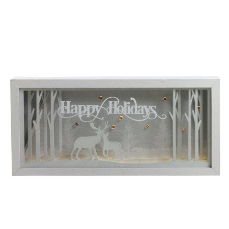 12 Lighted Happy Holidays Reindeer Christmas Shadow Box Decoration - image 1 de 1