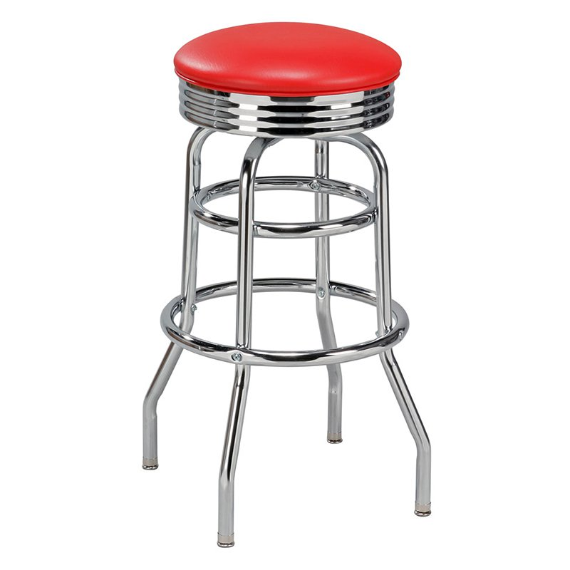 Regal Retro Soda Fountain 30 in. Retro Backless Metal Bar Stool