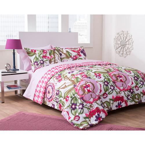 Formula Houndstooth Floral Reversible Complete Bedding Set, Pink
