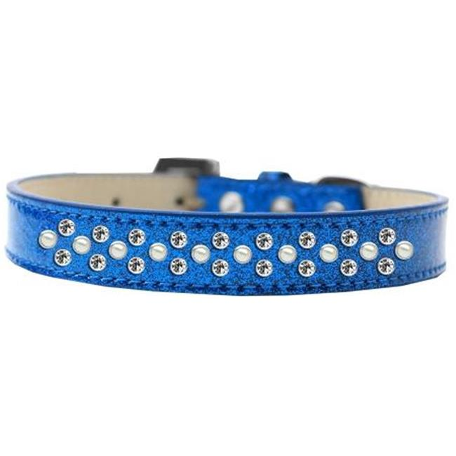 Sprinkles Ice Cream Pearl & Clear Crystals Dog Collar, Black - Size 16