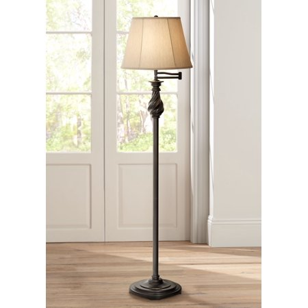 Regency Hill Traditional Swing Arm Floor Lamp Painted Black Bronze Swirl Font Faux Silk Beige Shade for Living Room Reading -