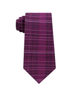 Calvin Klein Mens Hi-Low Plaid Self-tied Necktie, Red, One Size