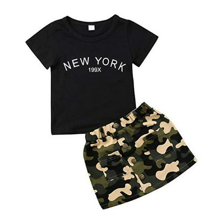 Baby Girl Cotton Letter Print Short Sleeve T Shirt and Camouflage Skirt Set Infant Baby Clothes