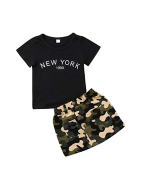 a53bace6dd78 Product Image Baby Girl Cotton Letter Print Short Sleeve T Shirt and  Camouflage Skirt Set Infant Baby Clothes