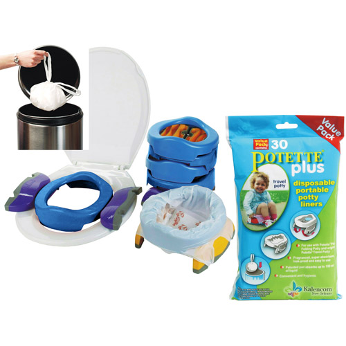 Kalencom - Potette Plus 2-in-1 Portable Potty & Trainer and Liner Refills Bundle, Blue