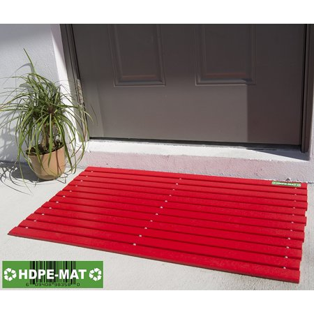 Heavy Duty Waterproof Front Door Mat | Eco Friendly | Stylish Handcrafted Red Recycled Plastic Poly Lumber Slats - Welcome Doormat For Outdoor Entrance Porch Garage Patio Entry | UV Resistant HDPE-MAT (Recycled Lumber)