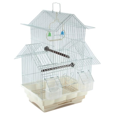 Bird Cage House Style - White - Starter Kit, Swing Perch Feeders - Two