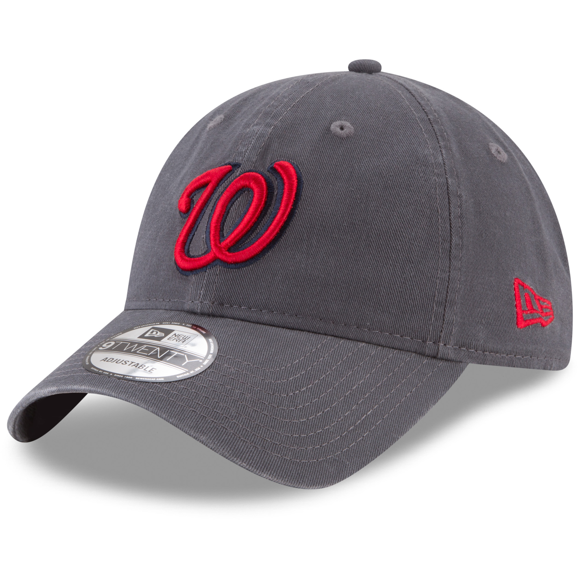 Washington Nationals New Era Primary Logo Core Classic 9TWENTY Adjustable Hat - Graphite - OSFA