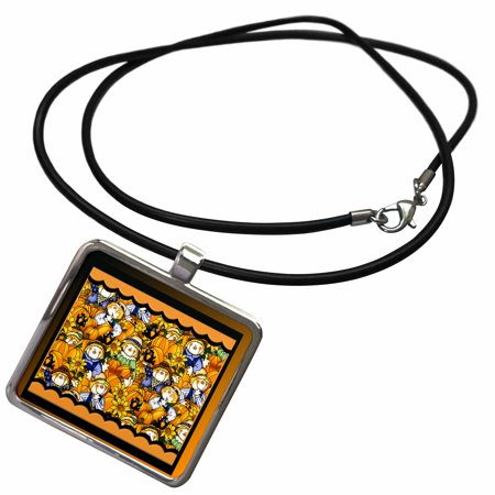 3dRose Scarecrows, Sunflowers, and Pumpkins - Necklace with Pendant (ncl_254507_1)