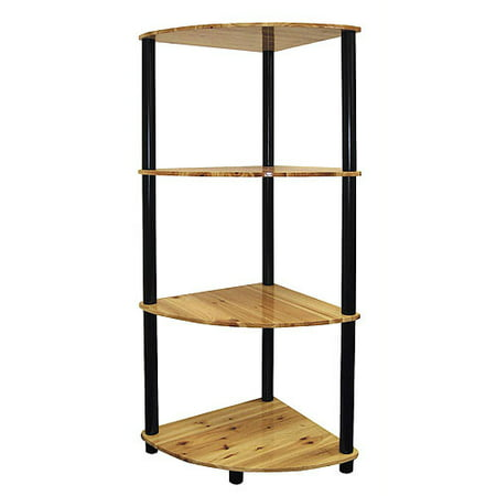 Open Corner 4-Shelf Bookcase, Natural and Black