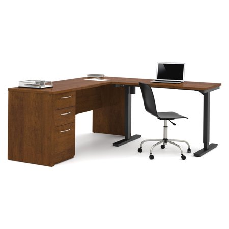 Embassy L Desk Including Electric Height Adjustable Table In Tuscany Brown