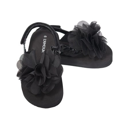 Lamour lamour black sequin strap flower flip flop sandals lamour lamour black sequin strap flower flip flop sandals toddler girls 5 10 walmart mightylinksfo