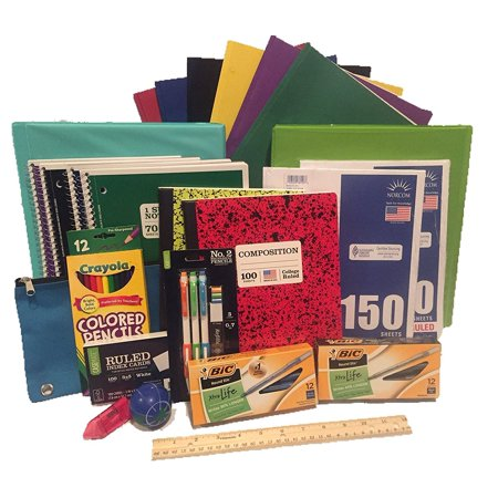 Secondary School Supply Pack - 25 Essential Items for College, High School or Middle School. Includes Pencils, Paper, Binders, Notebooks, Folders and More! 25 piece (Best Binders For College Students)