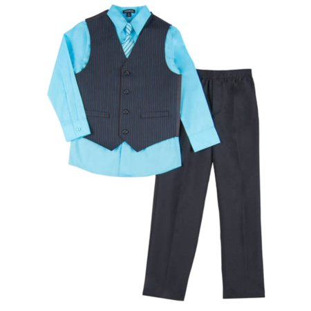 Boys 4 Piece Suit Aqua Blue & Black Pin Stripe Dress Up Outfit Holiday Shirt for $<!---->