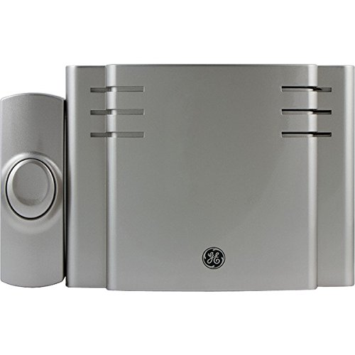 GE Wireless Doorbell Kit, 8 Chime Melodies, 1 Receiver, 1 Push Button, Battery-Operated, Nickel, 19303