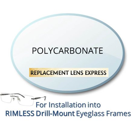 Single Vision Polycarbonate Prescription Eyeglass Lenses, Left and Right (One Pair), for installation into your own Rimless (drill-mounted) Frames, Anti-Scratch Coating Included - No Prescription Halloween Contact Lenses