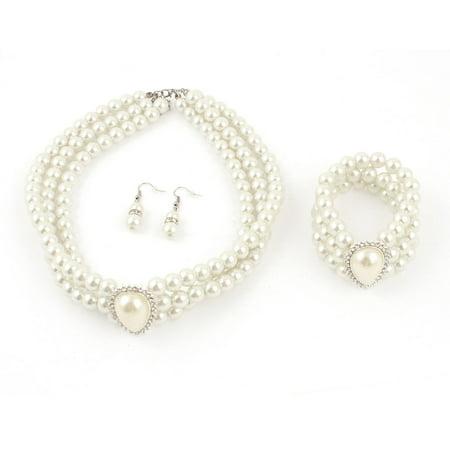 White Manamde Pearls Beads 3 Rows String Necklace Bracelet Bracelet 3 in 1 Set
