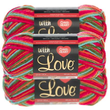 Red Heart (3 Pack) With Love 100% Acrylic Soft Yarn For Knitting Crocheting Medium - Acrylic Heart Knitting Yarn