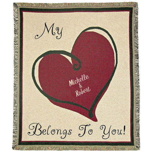 "Personalized My Heart Belongs To 50"" x 60"" Tapestry Throw"