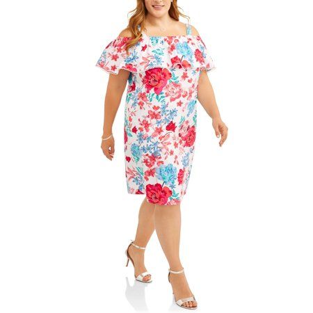 Women's Plus Ruffled Shoulder Dress for $<!---->