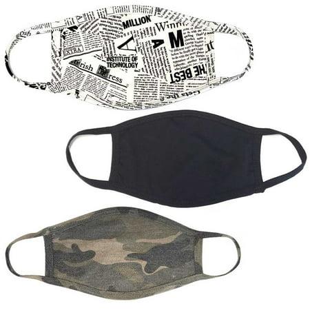 PRO MC 3Pcs Set Unisex Face Mask Camo Black Print Protect Reusable Cotton Comfy Washable Made In USA